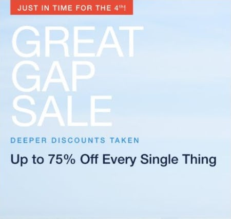 Great Gap Sale: Up to 75% Off