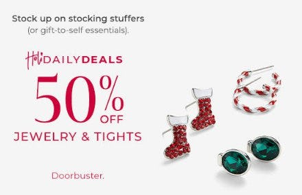 50% Off Jewelry and Tights from Lane Bryant