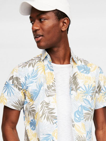 Slim Tropical Palm Short Sleeve Shirt from Express