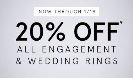 20% Off All Engagement & Wedding Rings