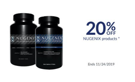 20% Off Nugenix Products from The Vitamin Shoppe