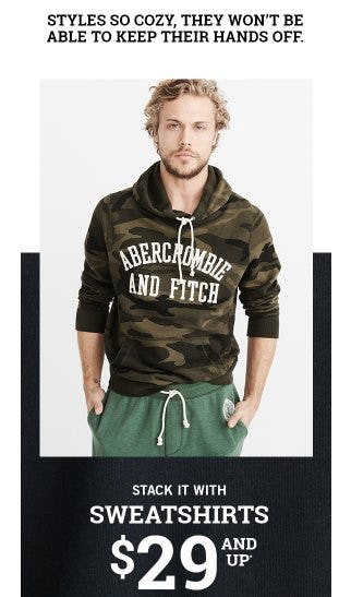Sweatshirts $29 And Up from Abercrombie & Fitch