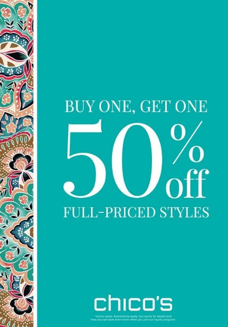 Buy One, Get One 50% off Full-Priced Styles from chico's