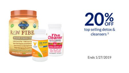 20% Off Top Selling Detox & Cleansers from The Vitamin Shoppe