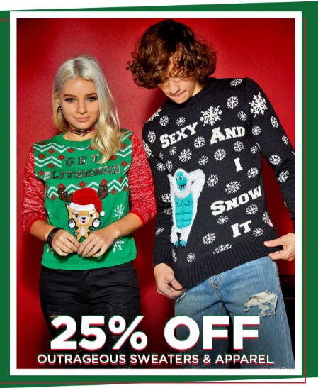 25% Off Outrageous Sweaters & Apparel from Spencer's Gifts