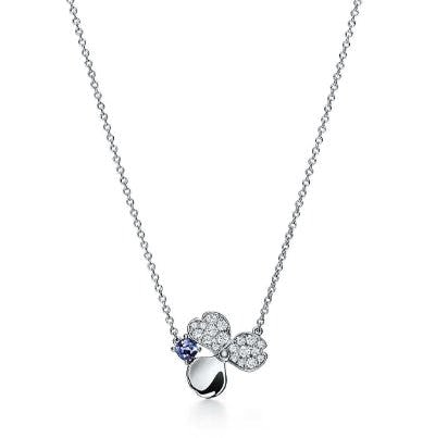 Diamond and Tanzanite Flower Pendant