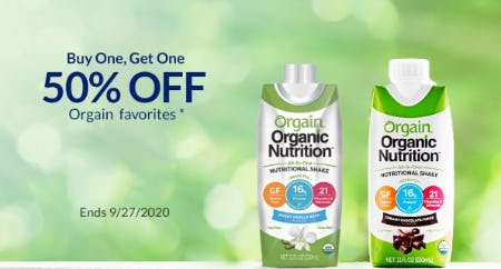 BOGO 50% Off Orgain Favorites