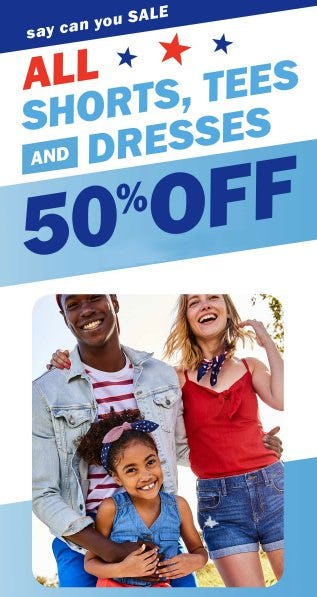 All Shorts, Tees and Dresses 50% Off from Old Navy