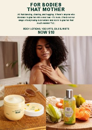 Body Lotions, Yogurts, Oils & Mists Now $10 from The Body Shop