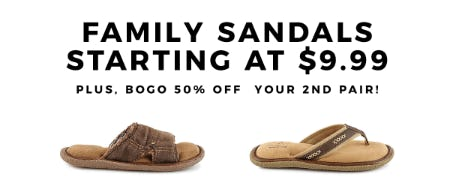 Family Sandals Starting at $9.99 from Rack Room Shoes