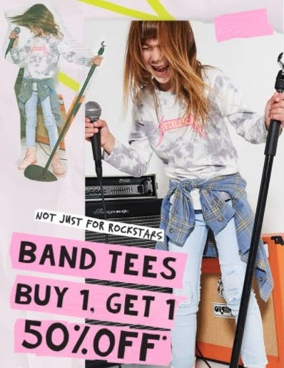 B1G1 50% Off Band Tees from Cotton On Kids