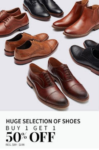 Huge Selection of Shoes Buy 1, Get 1 50% Off from Jos. A. Bank