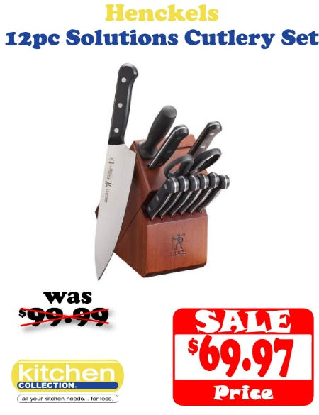 Save $30 off JA Henckels 12 Piece Cutlery Set from Kitchen Collection