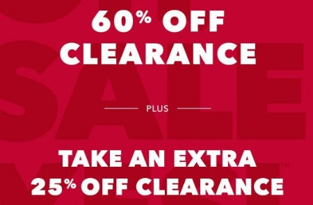 60% Off Clearance Plus Take an Extra 25% Off Clearance