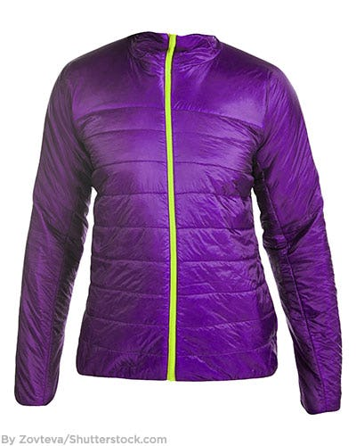 Bright purple puffer jacket with neon yellow zipper detail.