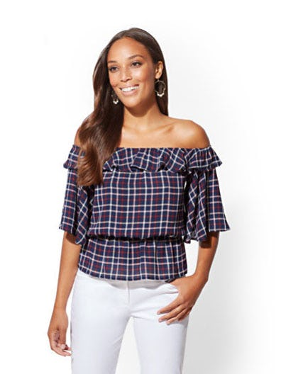 Navy Plaid Off-The-Shoulder Ruffled Blouse from New York & Company