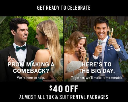 $40 Off Almost All Tux & Suit Rental Packages from Men's Wearhouse