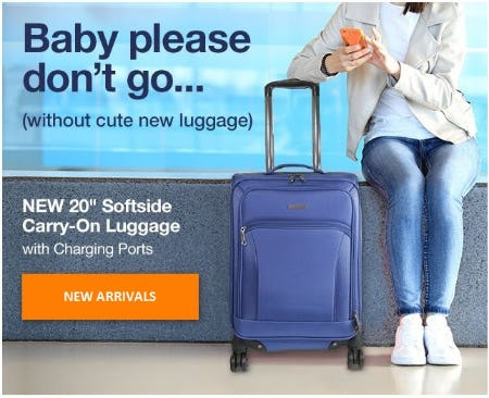 """New 20"""" Soft-Side Carry-On Luggage with Charging Ports from Brookstone"""