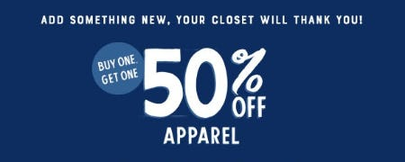 BOGO 50% Off Apparel from Lucky Brand Jeans