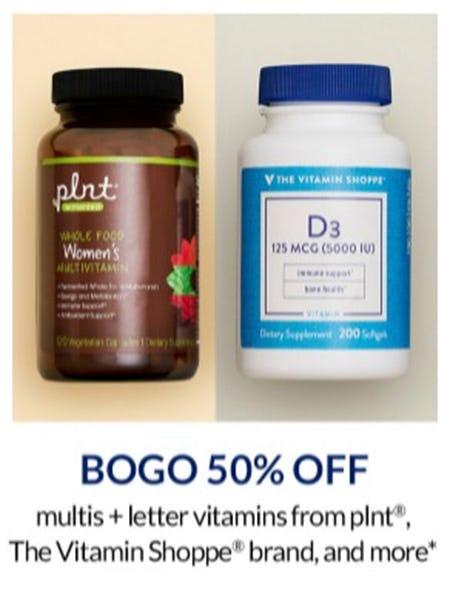 BOGO 50% Off Multis + Letter Vitamins from The Vitamin Shoppe