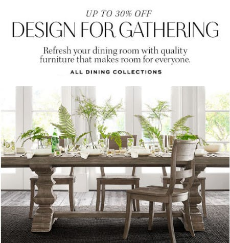 Up to 30% Off All Dining Collections from Pottery Barn