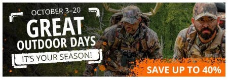 Great Outdoor Days: Up to 40% Off from Cabela's