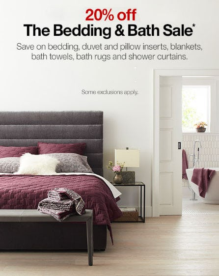 20% Off The Bedding & Bath Sale from Crate & Barrel