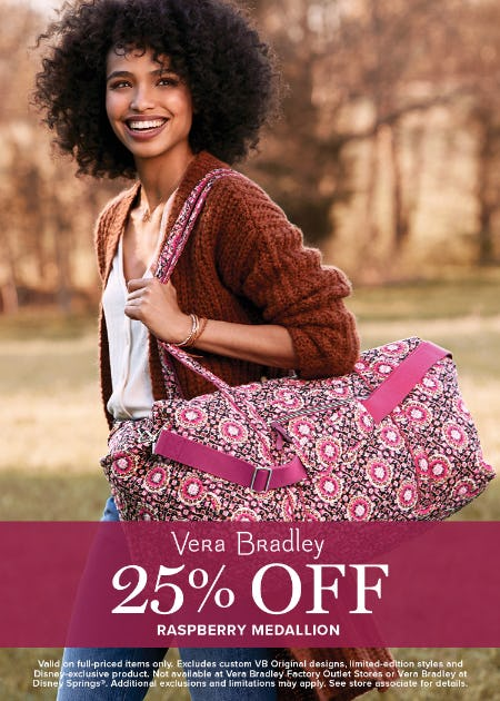 This is Berry Exciting! 25% off Raspberry Medallion from Vera Bradley
