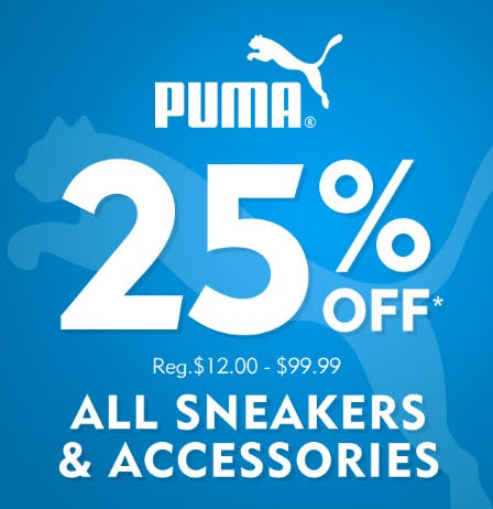 25% Off All Sneakers &  Accessories