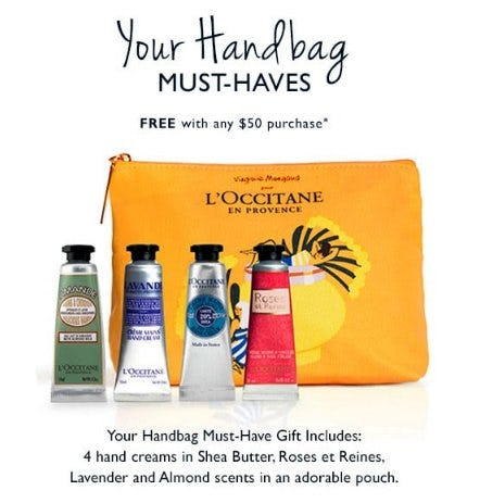 Your Handbag Must-Haves Free With Any $50 Purchase from L'Occitane