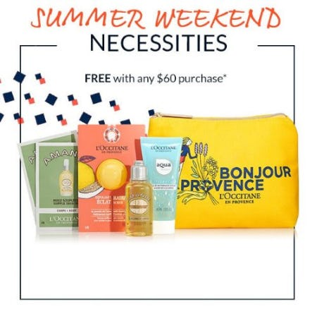 Summer Weekend Necessities Free With Any $60 Purchase from L'Occitane
