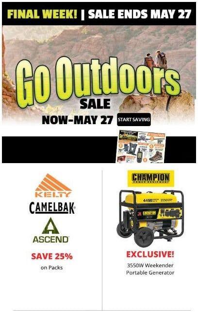 Go Outdoors Sale from Cabela's