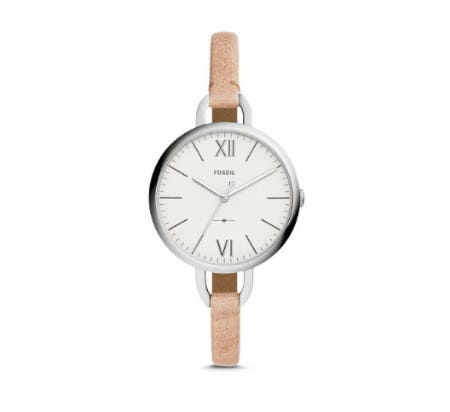 Annette Three-Hand Sand Leather Watch
