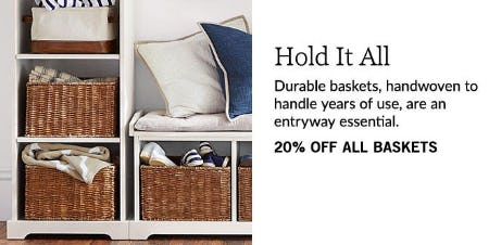 20% Off All Baskets from Pottery Barn