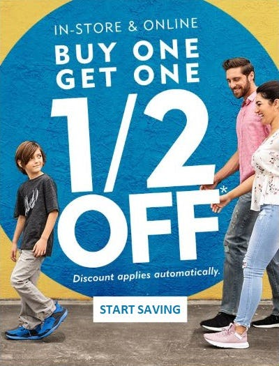 BOGO 1/2 Off from Shoe Carnival