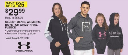 Save Up to $25 on Select Men's, Women's, Boys', or Girls' Rival Fleece
