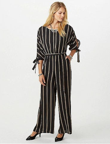 Open Back Stripe Jumpsuit from Dress Barn, Misses And Woman