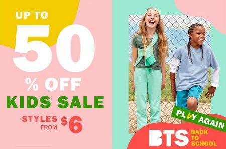 Up to 50% Off Kids Sale from Old Navy