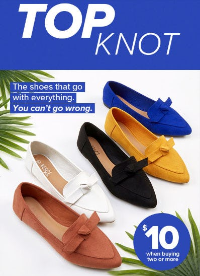 $10 Shoes When Buying Two or More from Rainbow