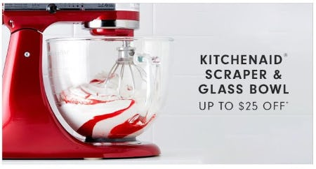 KitchenAid Scraper & Glass Bowl up to $25 Off from Williams-Sonoma
