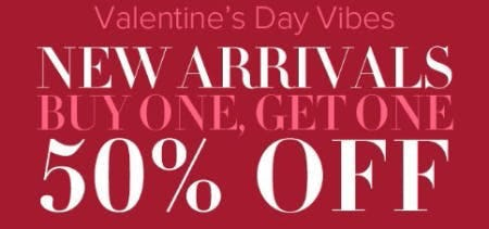New Arrivals Buy One, Get One 50% Off