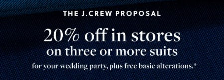 20% Off in Stores on Three or More Suits from J.Crew Men's Shop