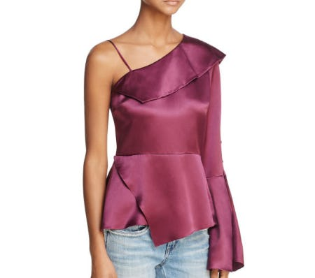 Parker Cache Cold-Shoulder Silk Top from Bloomingdale's