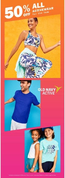 50% Off All Activewear from Old Navy