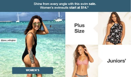 Women's Swimsuits Start at $14
