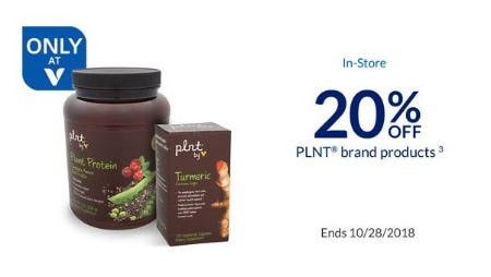 20% Off PLNT Brand Products from The Vitamin Shoppe