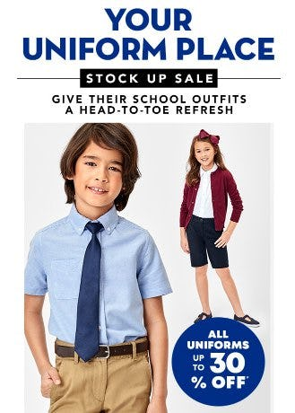 All Uniforms up to 30% Off from The Children's Place