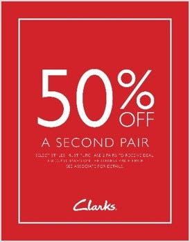 GET 50% OFF YOUR SECOND PAIR from Clarks