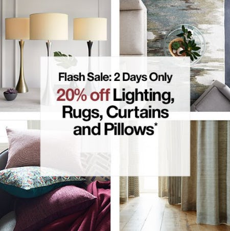 20% Off Lighting, Rugs, Curtains and Pillows from Crate & Barrel