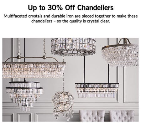 Up to 30% Off Chandeliers from Pottery Barn